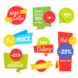 Big Set of Vector Label, Sticker, Tags. Collection Colorful Abstract Label and Sticker. Blank Label of Modern Style. Best seller, eco product, quality and other icon. - 112024024