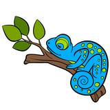 Cartoon animals for kids. Little cute blue chameleon sleeps.