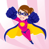 Illustration of sexy beautiful fit woman in superhero costume flying - 112028013