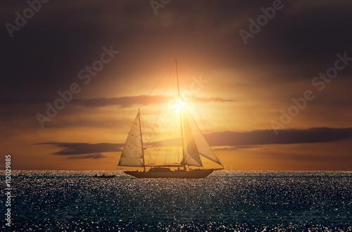 Plexiglas Zeilen Yacht sailing in Mediterranean during sunset