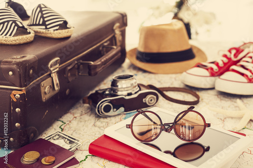 Poster Ready vacation suitcase, holiday concept