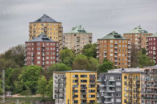 Foto op Canvas Stockholm Old and new architecture in Hammarby sjostad, Stockholm.