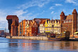 View of the riverside on Old Town by the Motlawa river in Gdansk, Poland.
