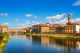 Florence, Ponte Vecchio bridge over river Arno and Palazzo Vecchio (Tuscany, Italy) - 112045049