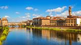 Florence, Ponte Vecchio bridge over river Arno and Palazzo Vecchio (Tuscany, Italy) - 112045062