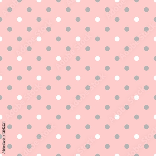 Cotton fabric Tile vector pattern pink polka dots on grey background