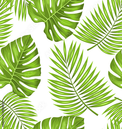 Cotton fabric Seamless Wallpaper with Green Tropical Leaves for Fabric Swatch