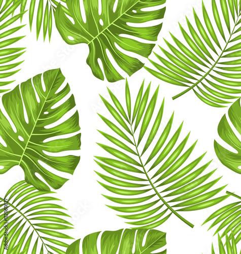 Materiał do szycia Płynne tapety z zielonych liści tropikalnej do tkanin