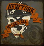Fototapety Motorcycle Skull tee graphic design