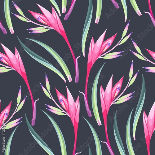 Cotton fabric Jungle flowers seamless