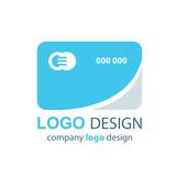 card logo  blue design