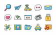 Internet and media icons set,eps10