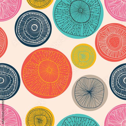 Cotton fabric Cute seamless pattern, wallpaper, vector. Flowers motifs. Polka dot.