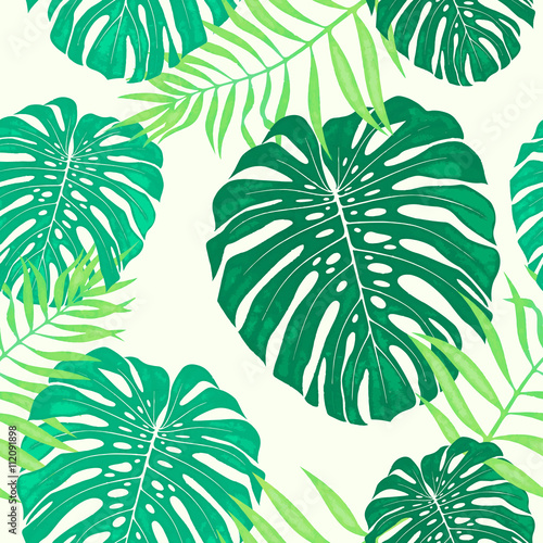 Cotton fabric Monstera leaves seamless pattern. Vector tropical botanical illustration.