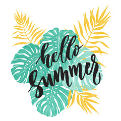Hello Summer card with tropical leaf seamless pattern.