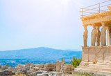Famous Greek Athena Nike temple against clear blue sky, Acropolis of Athens in Greece - 112093203