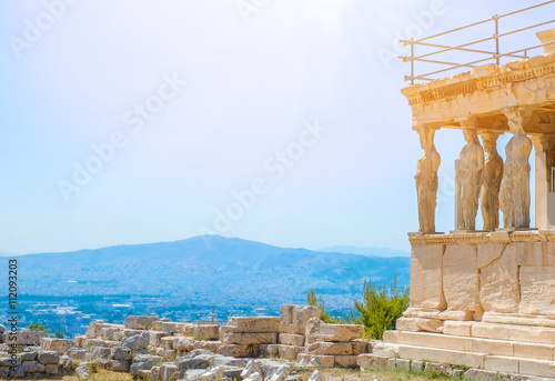 Staande foto Athene Famous Greek Athena Nike temple against clear blue sky, Acropolis of Athens in Greece