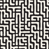 Vector Seamless Black And White Rounded Irregular Maze Pattern