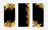 Fototapety Abstract background with gold sparkles. Shiny defocused gold bokeh lights on black background. Festive gold background for card, flyer, invitation, placard, voucher, banner.