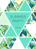 Fototapety Bright hawaiian design with tropical plants and hibiscus flowers