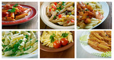 Food set of different  italian Penne  pasta.