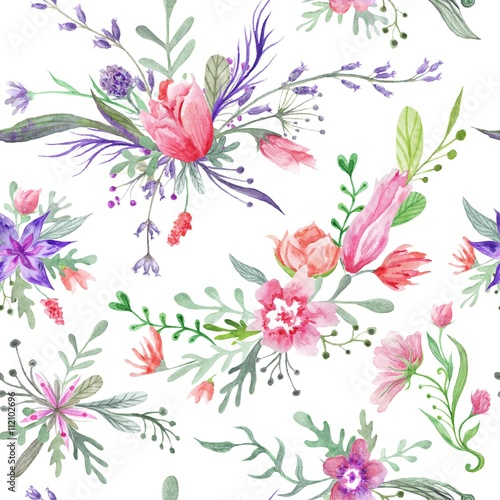 Watercolor Vintage Summer Pattern - 112102696