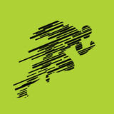 Run, running man from lines, abstract vector silhouette. Runner - 112103090