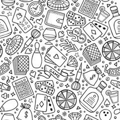 Cartoon hand-drawn casino, games seamless pattern