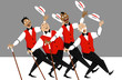 Постер, плакат: Quartet of singers in barbershop genre singing and dancing EPS 8 vector illustration no transparencies
