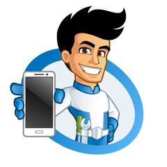 Héroe con un teléfono móvil y herramientas © grafico2011