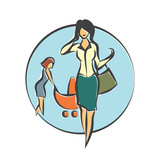 Nanny who takes care of the child until the mother is working. Vector flat illustration.