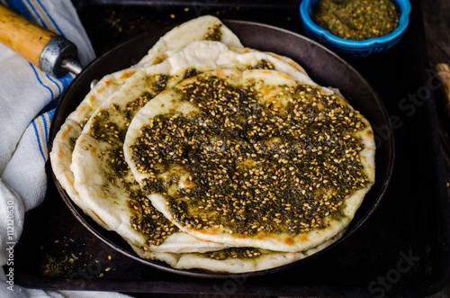 Freshly Baked Flatbread With Mixed Spice And Herbs