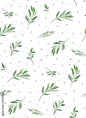 Fototapeta Nice seamless pattern with plants. Natural leaves olives for decoration and ornaments paper. The pattern on the fabric or wallpaper.