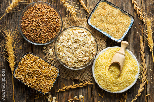Cereals collection on wooden background