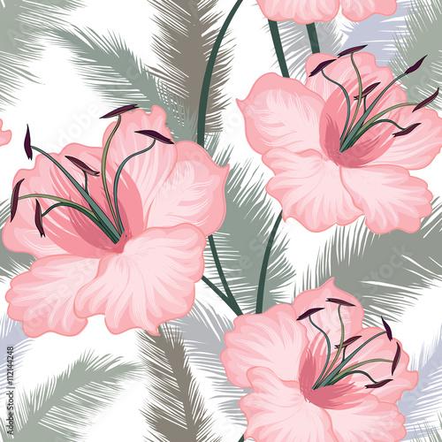 Floral pattern Flower lilies seamless background Flourish summer wallpaper - 112144248