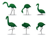 Flamingos bird trees isolated from vector and collection.Use bonsai tree in garden.