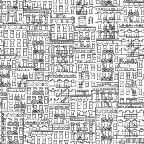 In de dag Art Studio Seamless pattern of New York style houses with fire escape stairs
