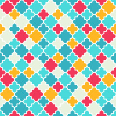 Multicolor Quatrefoil Lattice Pattern, seamless