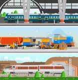 Rail Transport Horizontal Flat Banners