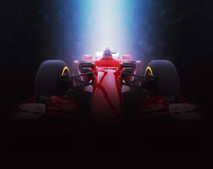 Red formula one car - epic lighting - 3D Illustration