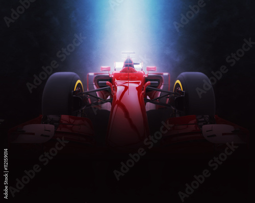 Deurstickers F1 Red formula one car - epic lighting - 3D Illustration