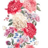 Vintage vector floral seamless border