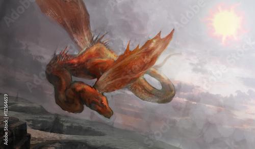 Foto op Plexiglas Draken snake dragon flying over mouthiness