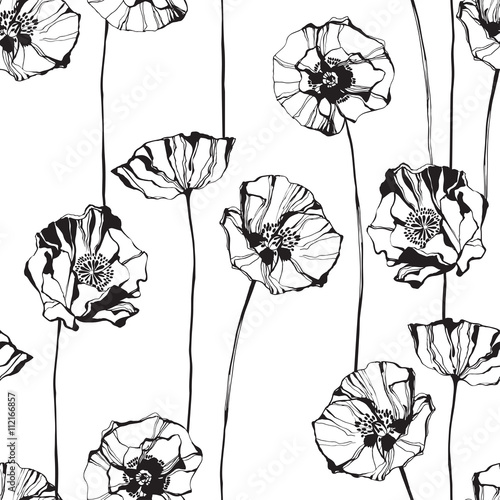 Black and white seamless pattern with poppies. Hand-drawn floral background. - 112166857
