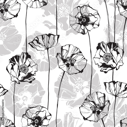 Monochrome seamless pattern with poppies. Hand-drawn floral background. - 112166876