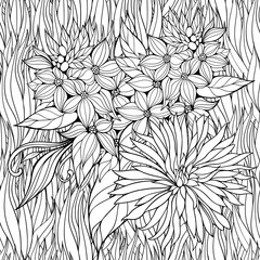 Coloring page with flowers in a grass.