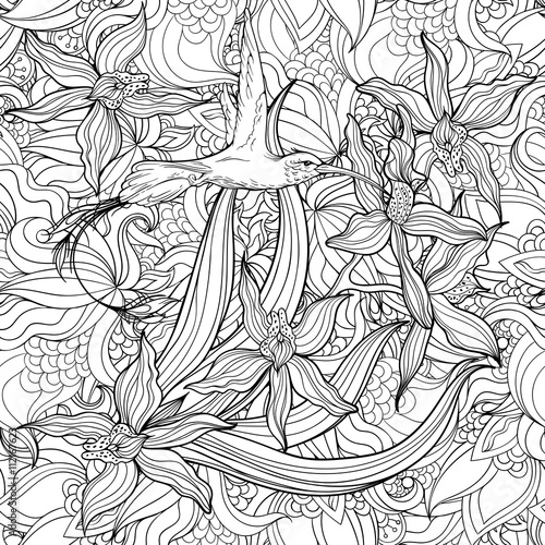 Coloring page with flowers and hummingbird