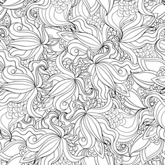 Black and white seamless pattern of orchid flowers.
