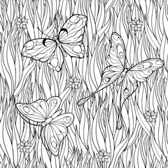 Coloring page with butterflies flying above grass and flowers.