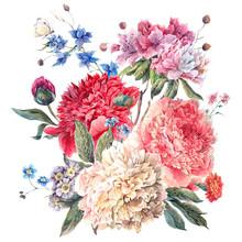 Vintage Floral Greeting Card z kwitnących Piwonie